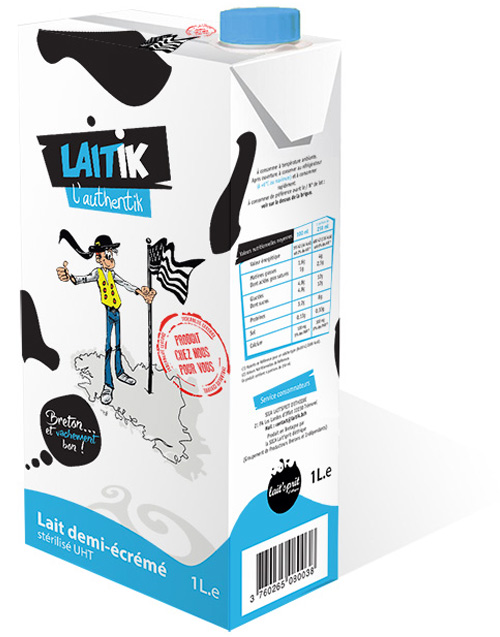brique de lait demi-écrémé Laitik l'Authentik